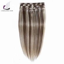 SHENLONG HAIR Weaving Mongolian Straight Remy 100% Human Hair Weaving Clip In Hair Extensions #P6/613 9pcs /set  Mixed colors