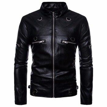 Autumn Winter Leather Jacket Men Coat Brand Casual Motorcycle Chest Zipper Jacket chamarra cuero hombre Male Coat Jacket US Size