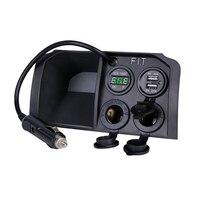 OEM 2 Port Car Charger For Honda Jazz Only 12V Car Charger With Voltmeter LED Display + Dual USB Cigarette Lighter Socket +2 USB