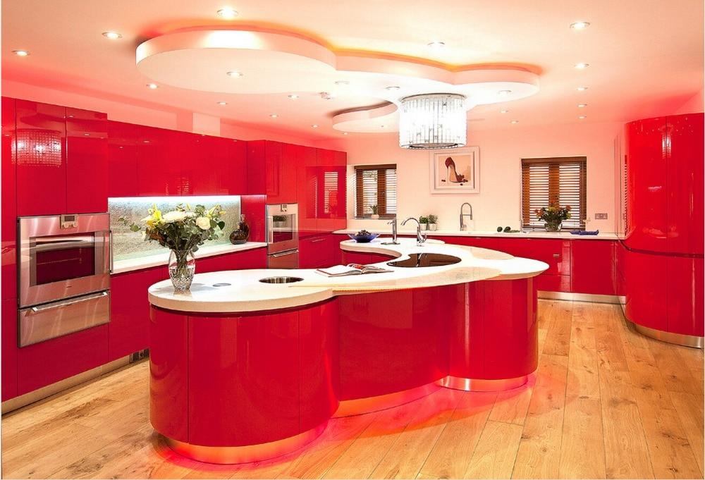 2017 новый дизайн высокий глянец, лак кухонные шкафы белый цвет современный 2PAC кухня мебель L1606084