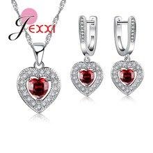 JEXXI Romantic Women Wedding Birthday Gifts Luxury Rhinestone Big Crystal Jewelry Fashion Silver Heart Necklace Earrings Set