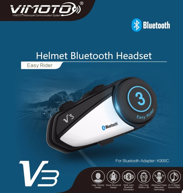 Capacete da Motocicleta Fone De Ouvido Bluetooth Vimoto V3 600 mah Multi-funcional Fones de Ouvido Estéreo Para Dois Sentidos Raido Easy Rider Series