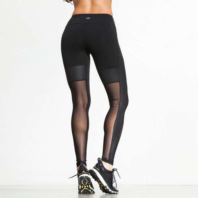 Super Sexy Long Mesh Black Leggings Women Push Up Breathable Wicking Casual Legging Leather Pants For Woman Ropa Mujer