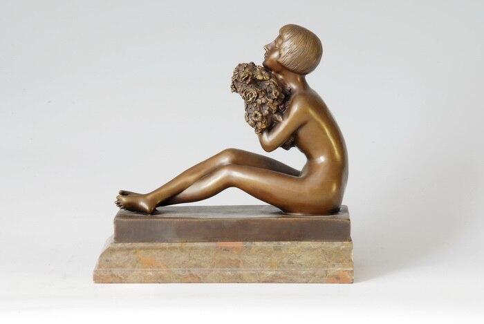 Bronze nude art deco table lamp figurine