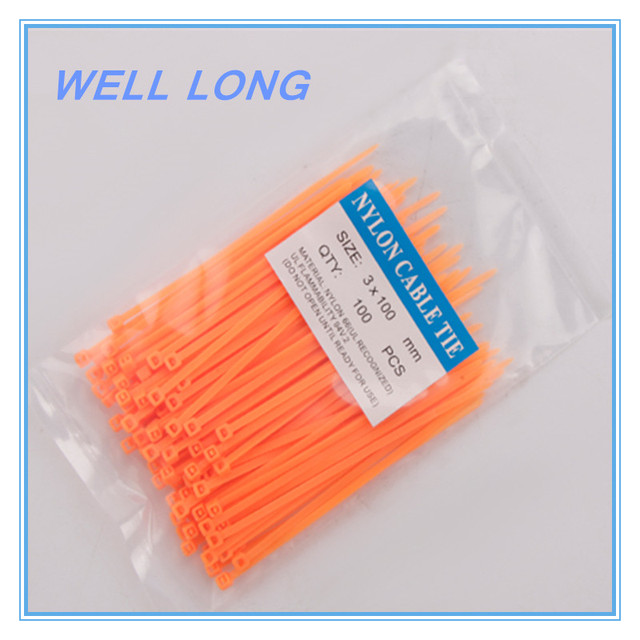 d1238f58af19 200pcs/lot 3*100mm Orange Nylon Wire Cable Zip Ties, Cable Ties.-in ...