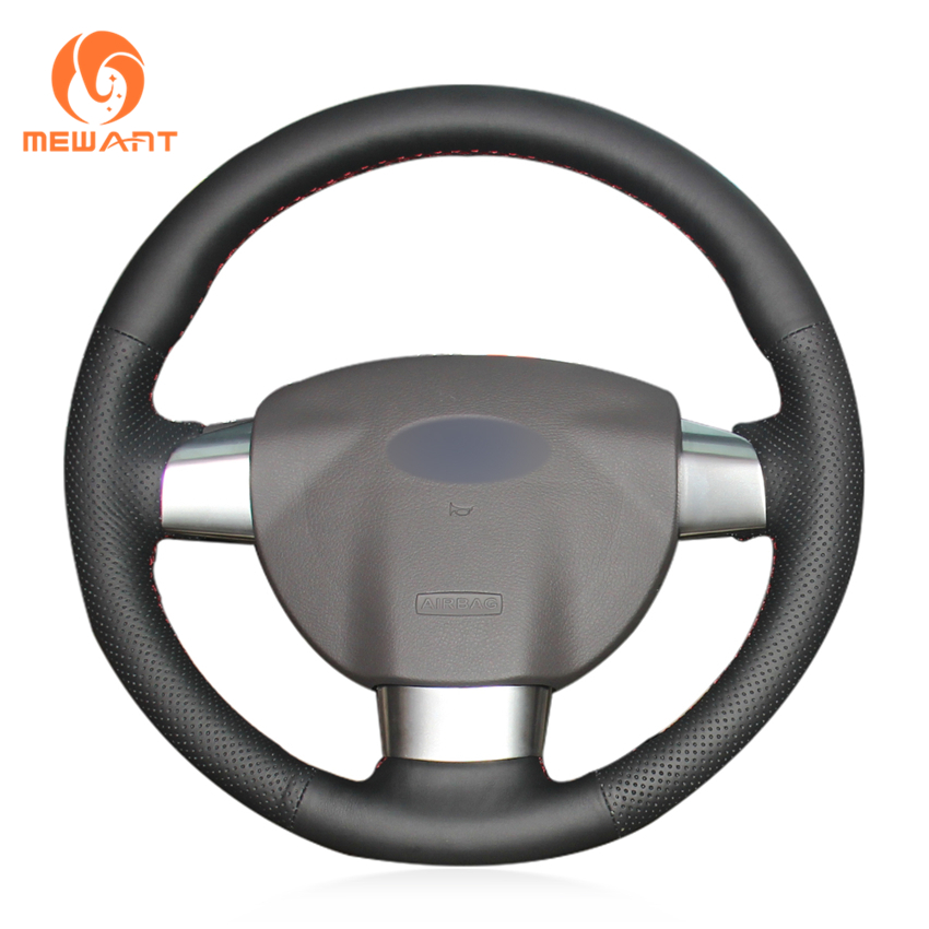 MEWANT Black Artificial Leather Car Steering Wheel Cover for Ford Focus 2 2005-2011 (3-Spoke) ford focus 1 1999 2005