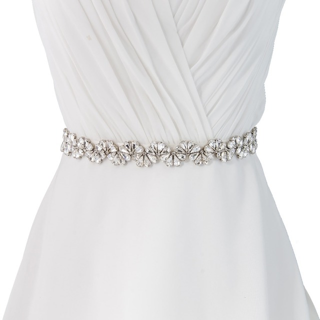 TOPQUEEN women's S291 Rhinestones Crystals Wedding evening dress sash Belts Bridal bride Belt Sashes for the party