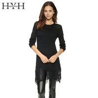 HYH HAOYIHUI 2016 Brand New Autumn Women Fashion Slim Irregular Hem Hole Sweater Tassel Brief Cut