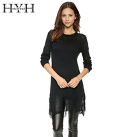 HYH HAOYIHUI 2016 Brand New Autumn Women Fashion Slim Irregular Hem Hole Sweater Tassel Brief Cut