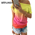 VESTLINDA Summer Women Tops Dye Print Tee Shirts Short Sleeve Gradient Color Casual One Shoulder Slash Neck Loose T Shirt Top