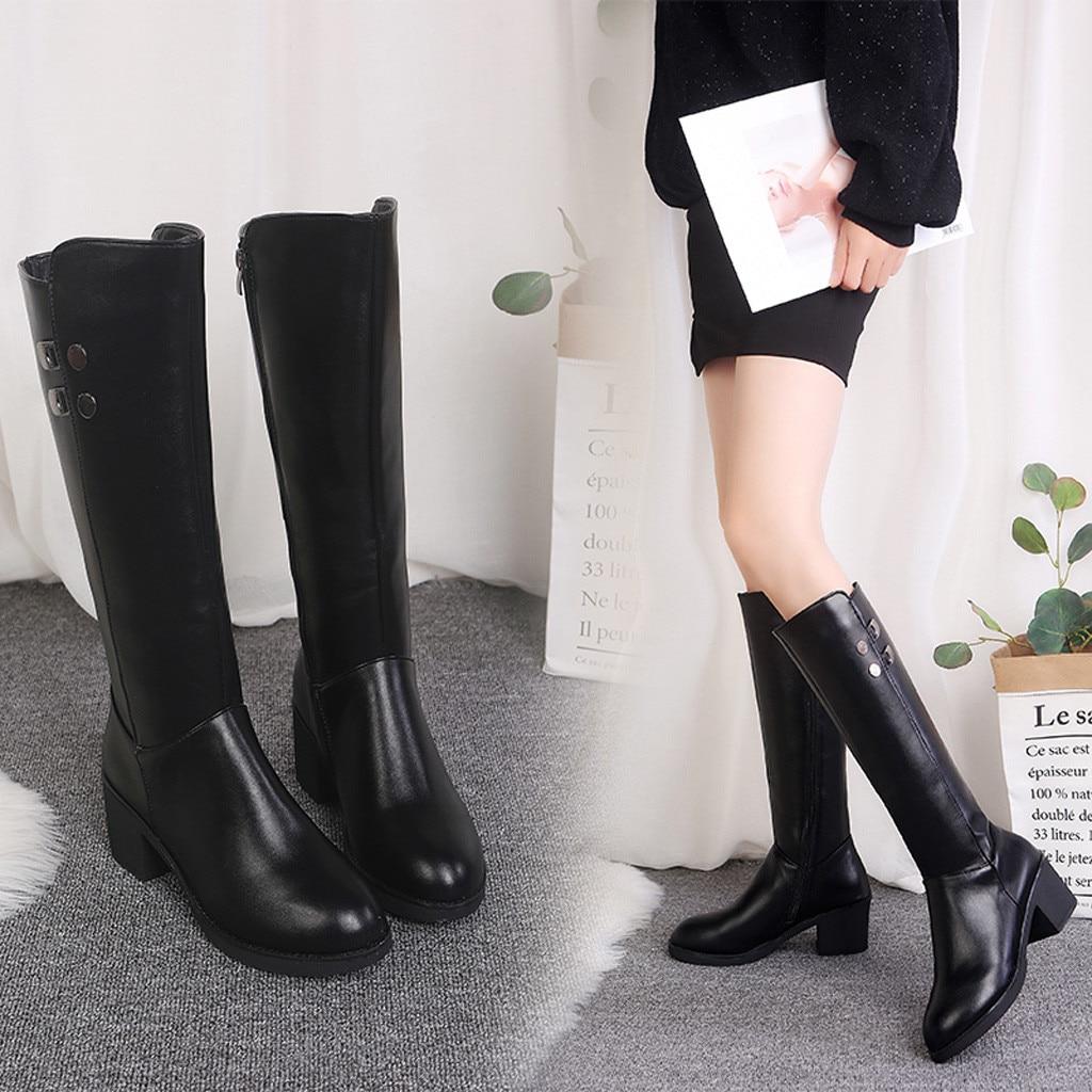 Aliexpress.com : Buy Women Leather Zipper Square Heel High