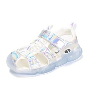 2019 Summer Children Shoes Comfortable Soft Baby Sandals Boys Girls Beach Non-slip Shoes Transparent Bottom Kids Shining Sandals