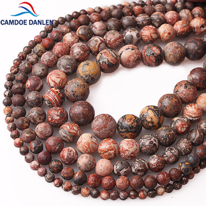 100% Natural Stone Leopardskin Jaspers Round Loose Beads 1 Strand 4 6 8 10 12MM Pick Size DIY Beads For Jewelry Making Wholesale image