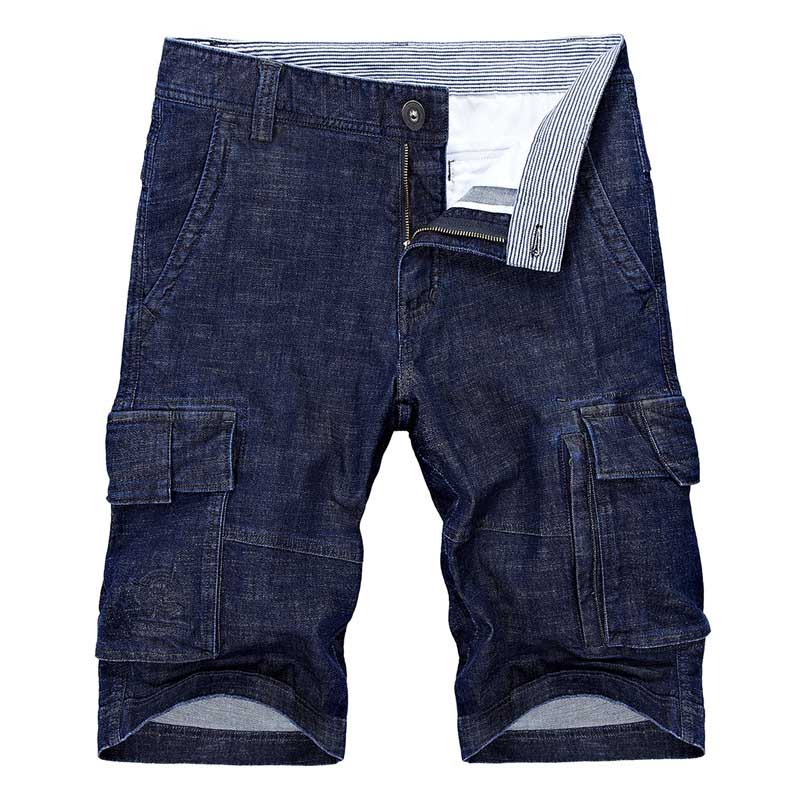 New Fashion Summer Jeans Short Pants Men Denim Cargo Shorts With Multi Pocket Cotton Cowboy Beach Shorts Boardshort Male Clothes