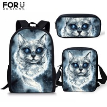 FORUDESIGNS Ghost Cat Print Black School Bag for Boys Girls 3PCS/Set Backpack Children Kids Custom Image Bookbag Dropship