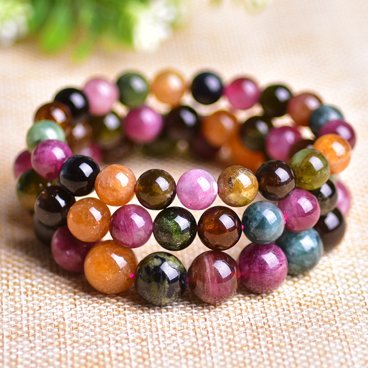 Natural Candy Color Tourmaline Round Bead Bracelet Single Lap Hand String Bangles Fashion Women DIY Stone Jewelry candy coloured string hand chain bracelets