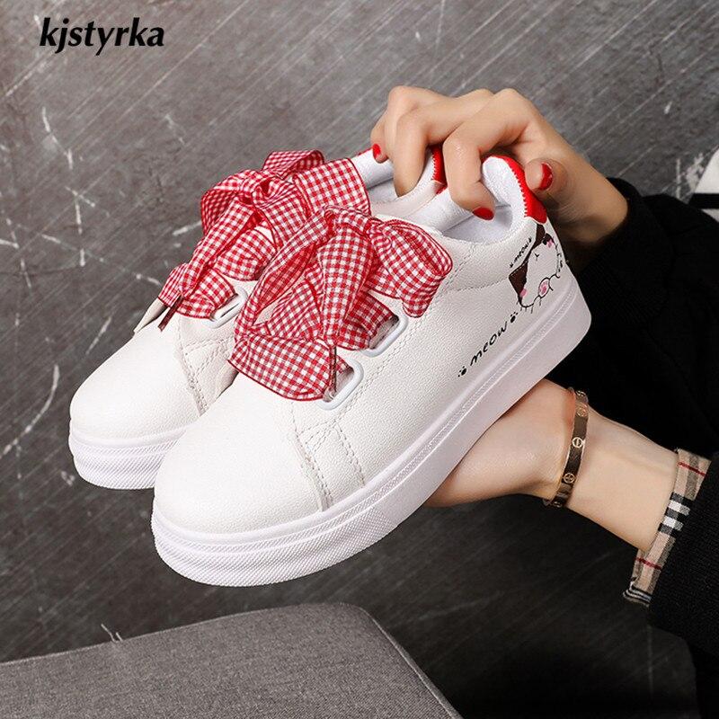 c7d1a6363486d8 Sneakers De 2019 Vichy Chats Lacet Plate rouge Noir Large blanc Footwears  Tenis Mode Kjstyrka Feminino forme Mignon Marche Étudiants Motif Femmes  zqxpOAO