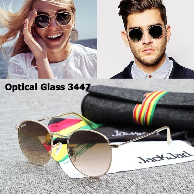 b8807022f61 JackJad Vintage JJ3447 Round Metal Quality Optical Glass Lens Sunglasses  Classic Retro Brand Design Sun Glasses Oculos De Sol