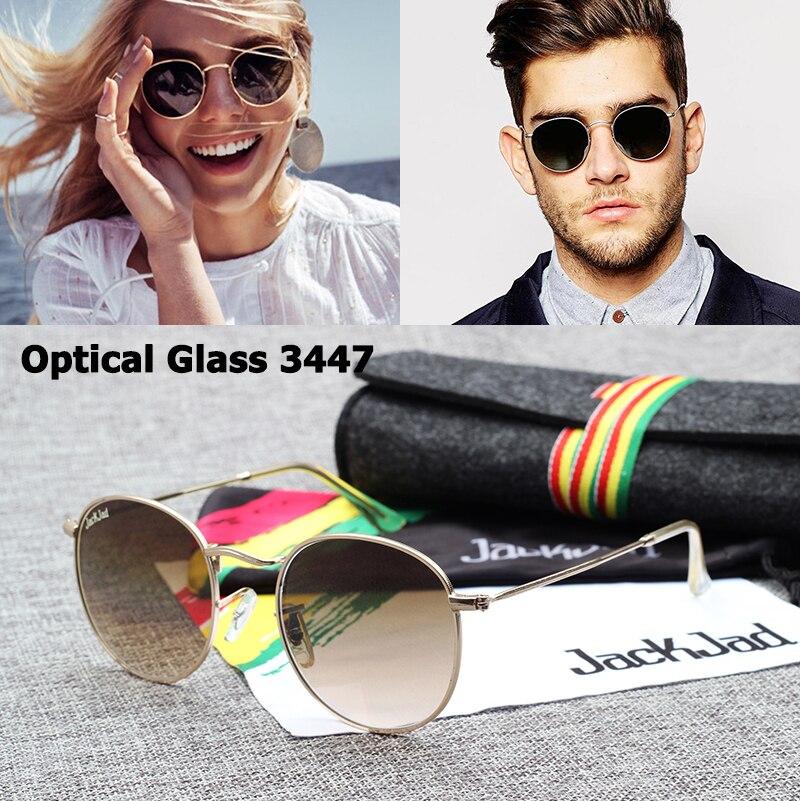 Jackjad jj3447 vintage redondo metal qualidade lente de vidro óptica óculos de sol clássico retro design da marca óculos sol