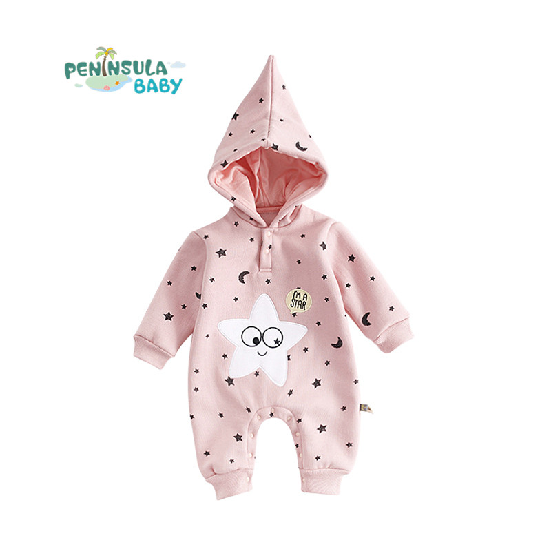 Cotton Winter Newborn Baby Rompers Long Sleeve Infant Boys Girls Hooded Climbing Clothes Cute Child Christmas Jumpsuit Coverall newborn infant baby girls boys rompers long sleeve cotton casual romper jumpsuit baby boy girl outfit costume