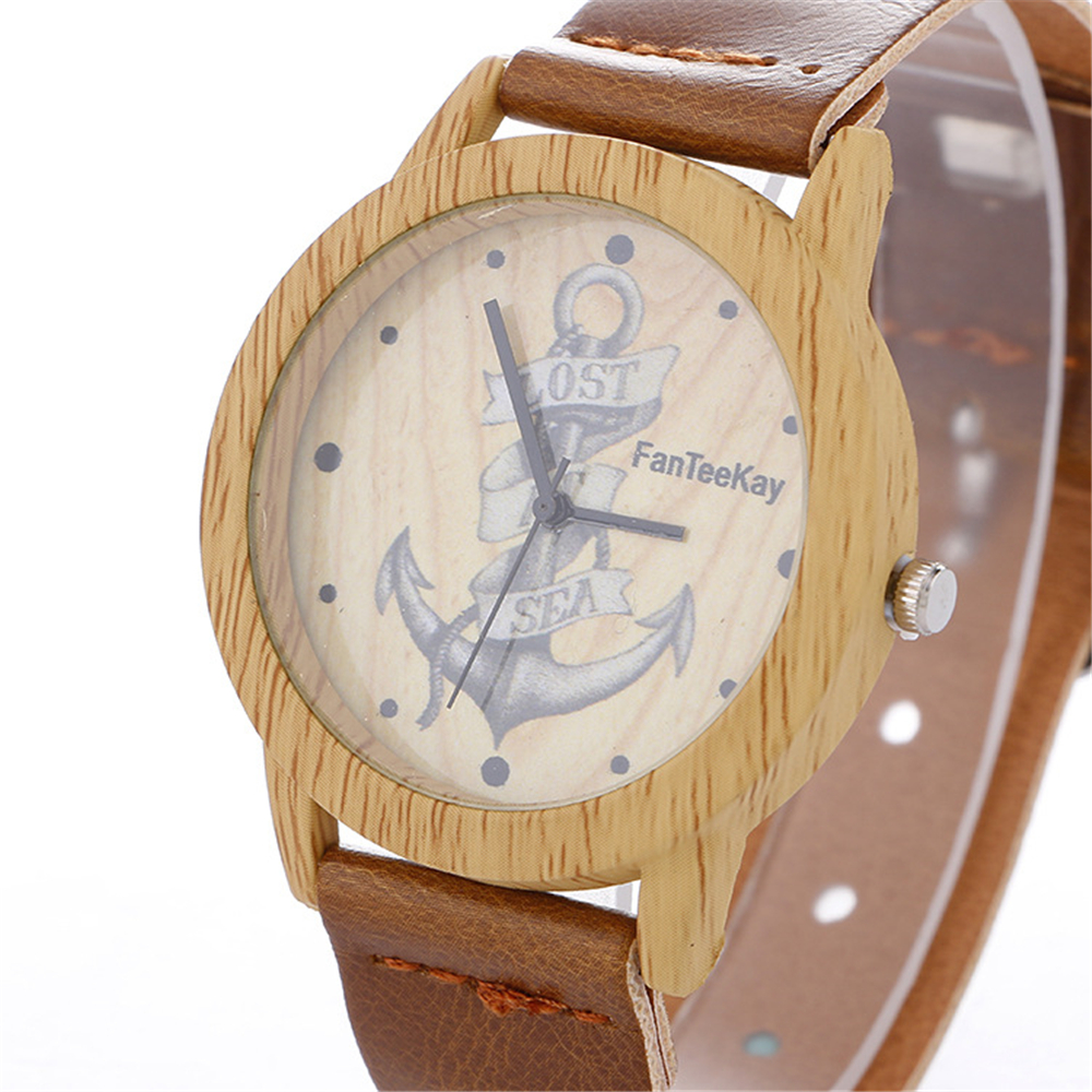 Texture Wooden Watches LOST AT SEA Anchor Casual Men Women Wrist Watch Leather Quartz Clock Personality Design Eoung people simulation wooden dial quartz wrist watch for men women