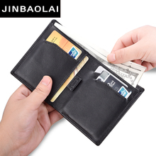 Black Purse For Men Genuine Leather Men's Wallets Thin Male Wallet Card Holder Cowskin Soft Mini Purses Telescopic Design Wallet