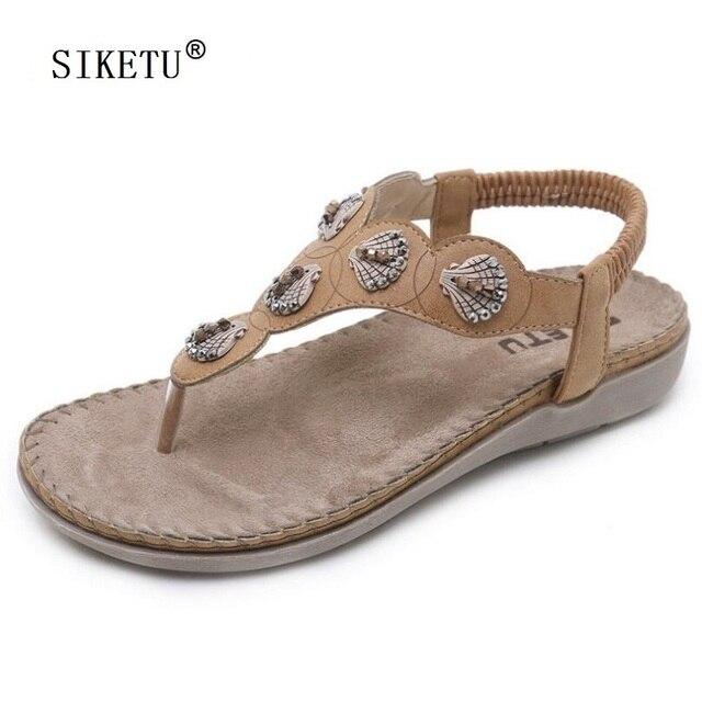 72ff17eb725da SIKETU Sandals Women String Bead Flat Flip Flops Sandals Ladies Summer  Beige Khaki Beach Comfort Flat Shoes Woman Size 35~41