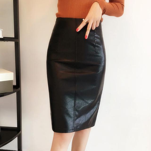 Elegante Falda de Las Señoras de Cuero Negro Faux Leather Pencil Skirt Longitud de La Rodilla Volver Hendidura Falda