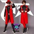 2016 длинный тонкий куртка оригинальный дизайн певец DJ дворец красный тощий куртка сценический костюм одежда для танцев верхняя одежда пальто оборудование