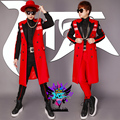 2016 Long Slim Jacket Original Design Male Singer DJ Palace Red Skinny Jacket Costume Stage Dance Wear Outerwear Coat Outfit