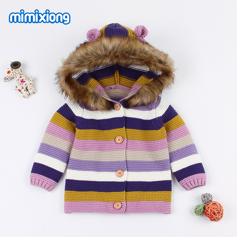 ea6ed6fdb Baby Girl Spring Sweater Cardigans Clothes Autumn Stripe Knitted ...