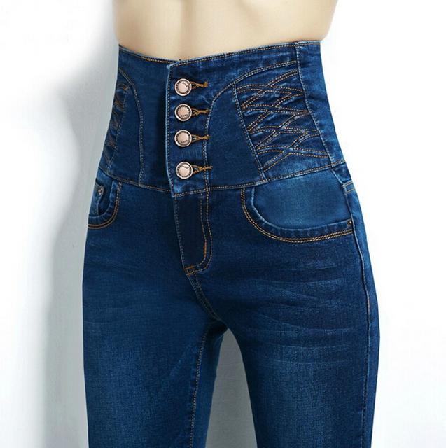 Moda jeans de cintura alta femininos calças lápis denim jeans skinny mulheres plus size 4XL
