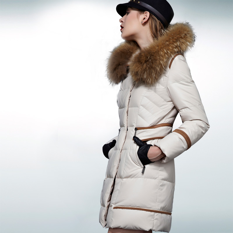 2014 Seconds Kill Time-limited Zipper Winter Noble A Luxury Women Medium Long Raccoon Fur Collar Down Jackets Thicken Coat Ems 2014 new arrival rushed full women winter luxurious overcoat raccoon fur collar medium long hooded down jackets thicken coat ems