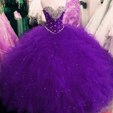 Purple Girls Quinceanera Dresses Sparkly Beading Ruffles Tulle Sweet 16 Prom Birthday Gown Red Fuchsia debutante vestido 15 anos