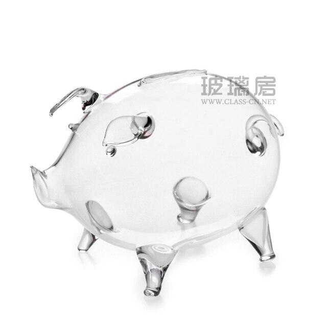 Clear Glass Pig as Money box Piggy Bank Coin Saving Box Children Gift Birthday Home x 1