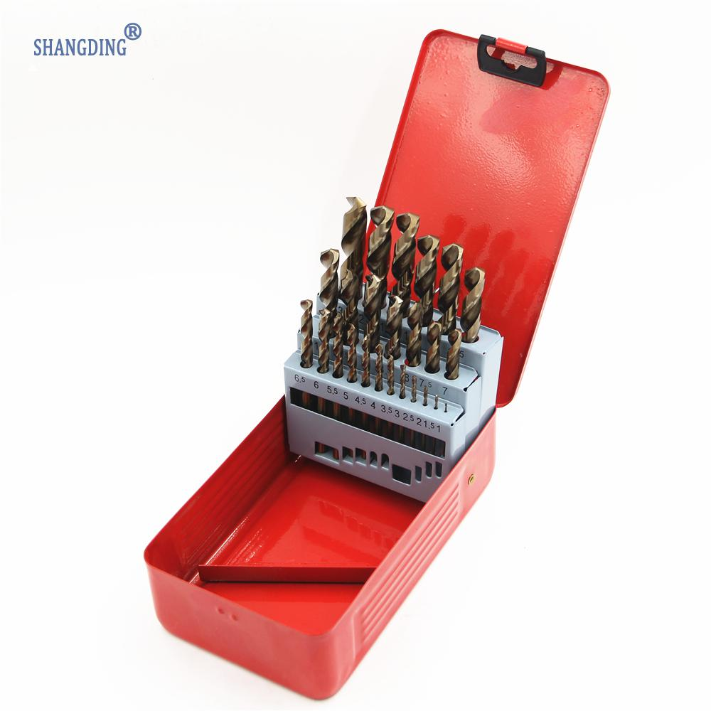 цена на New High Standard 25Pcs/set M35 Twist Drill Bit Set Power Tools Hand Tool Accessory HSS-co Stainless Steel drilling