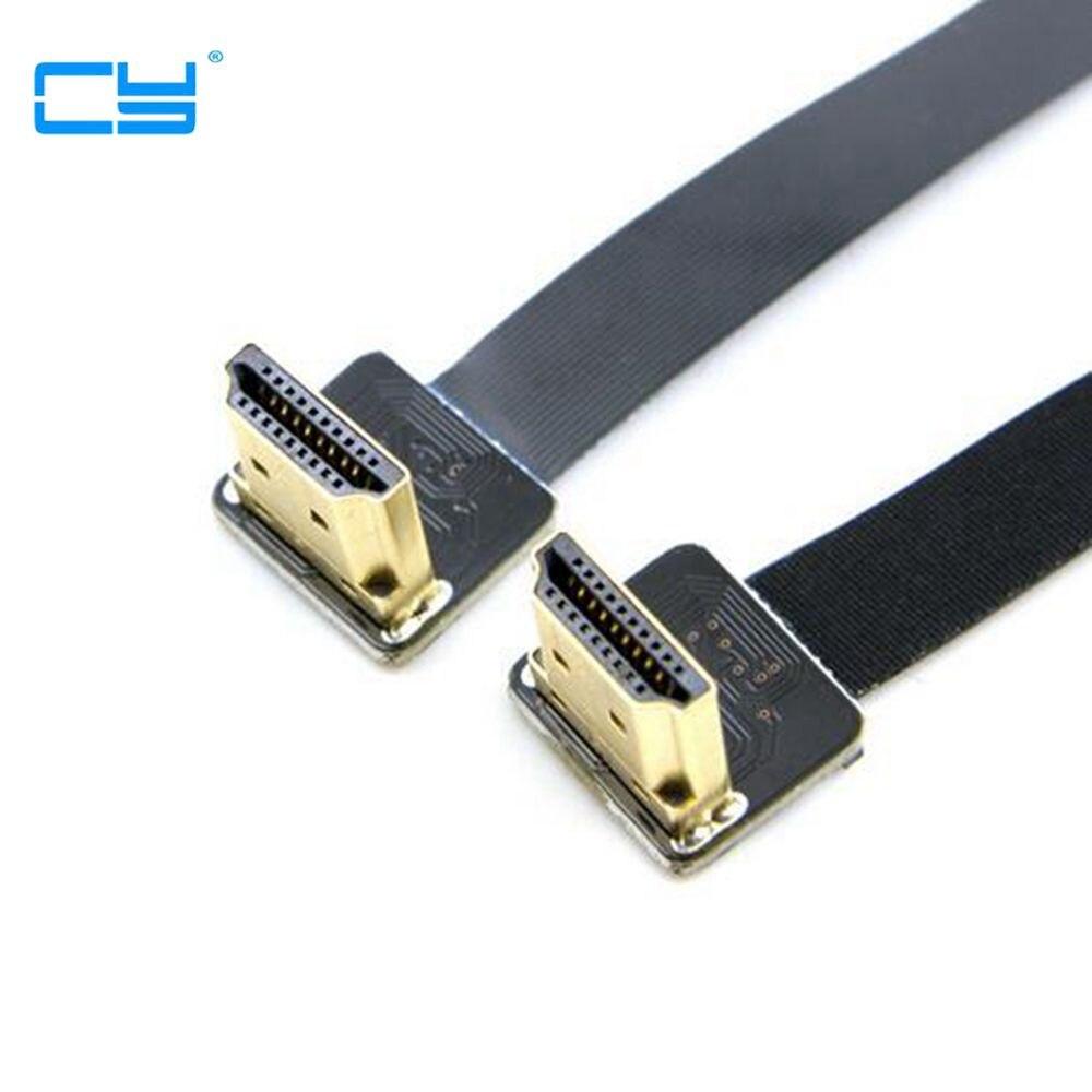 0.2 M FPV Double Jusqu'à Angle de 90 Degrés HDMI Type A Mâle à Mâle HDTV FPC Câble Plat pour Multicopter Photographie Aérienne 10 CM 50 CM