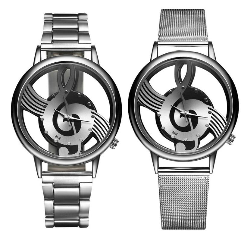 Unique Woman Quartz Analog Hollow Musical Note Style Full Steel Wrist Watch Fashion Ladies Casual Watch Female Relogio Feminino
