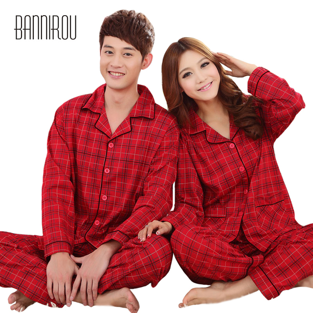 79655e8168 Red Plaid Couple Matching Pyjamas Sets Simple Full Lapel Button 100% Cotton  His-and-her Home Sleep Wear Lovers Woman Man Pajamas