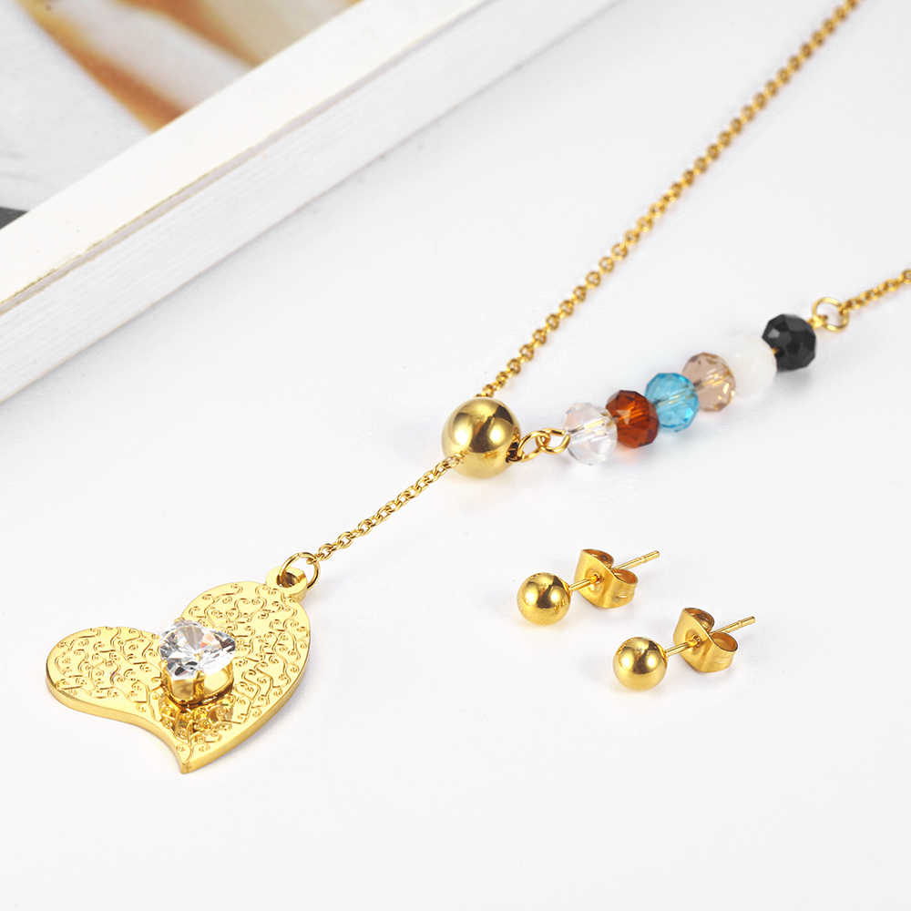 XUANHUA Clover Earring and Necklace Sets Clover Stainless Steel Jewelry Woman Vogue 2019 Charm Accessories Jewelry Sets
