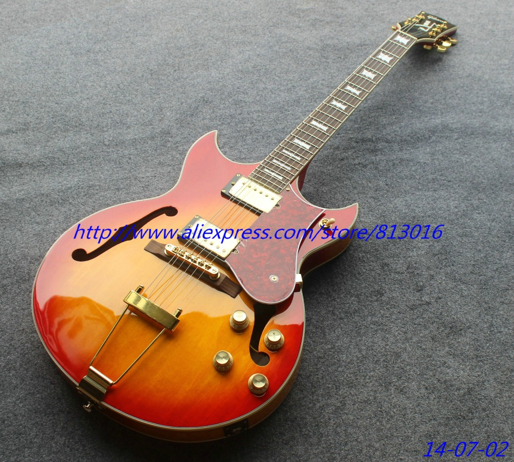 Hot Customised Electric Guitar Thin Jazz Hollow Body Cherry Parts Of The Burst Rosewood Fingerboard Chrome