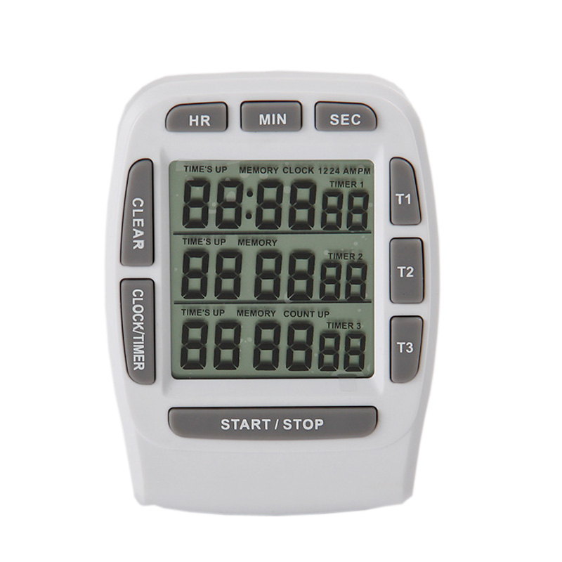 Digital LCD Kitchen Timer Cooking Timer 3 channel Display Hour/Min/Sec AM/PM Kitchen Gadgets Cooking Tools(White)