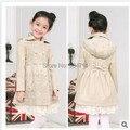 O envio gratuito de outono e inverno meninas casaco fashion rendas arco crianças blusão casaco trespassado YF-2220