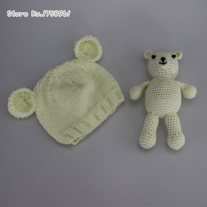 b6bdc8658f6 Hand Crochet Knitted Baby Hat Teddy Bear Bonnet Photography Photo Prop