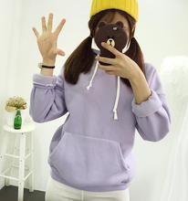 High Quality Sweatshirt Women Crewneck Solid Long Sleeve Warm Fleece Hoody Female Tumblr Bts Sweet Girl Hoodies Sweatshirts 2017
