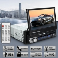 Topbox Car Stereo audio Radio Bluetooth 1DIN 7 HD Retractable Touch Screen Monitor DVD MP5 SD FM USB Player Rear View Camera