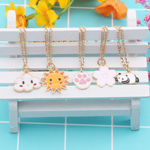 Cartoon Animal Plant Cloud Necklace For Women Cute Cat Sun Flower Metal Pendant Necklace Sweet Men And Women Jewelry Gift sweet cute women s pink rhinestone floral pendant necklace