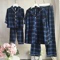 Familia Pijamas pijamas de Los Niños para la muchacha Coincidentes Madre e Hija Padre Kids Ropa de Dormir 100% Algodón A Cuadros de Encaje camisón