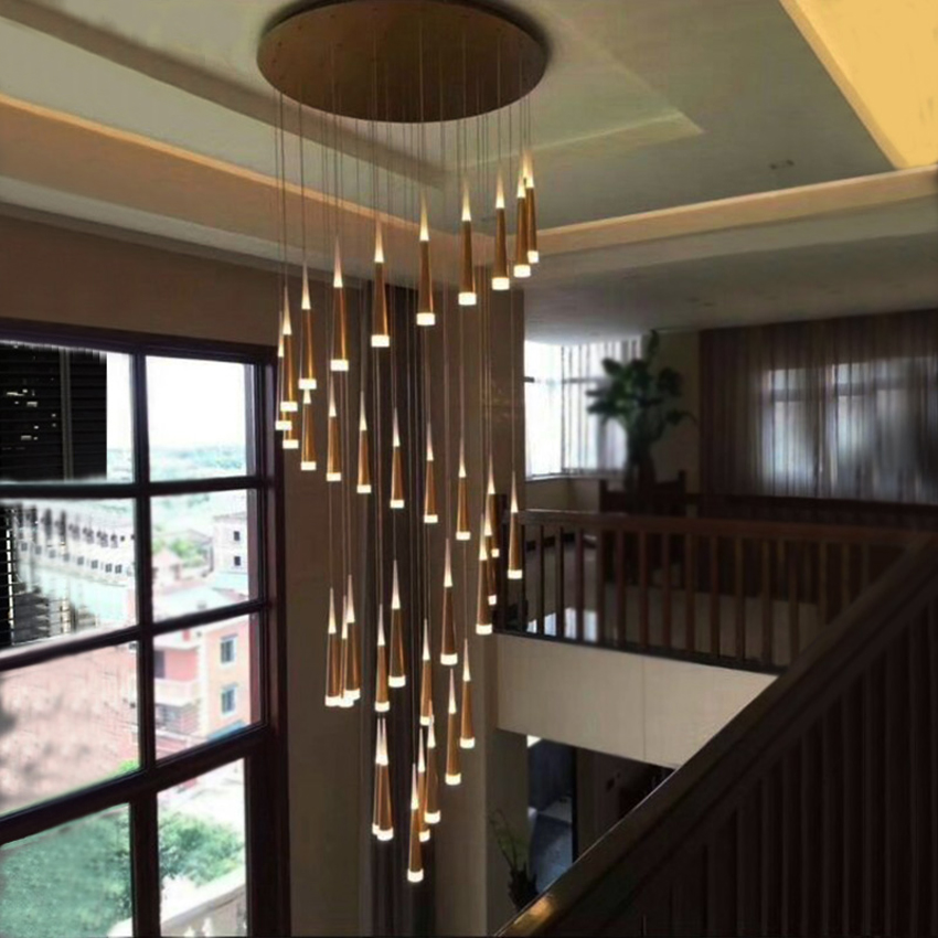 3 15 heads modern led chandeliers gold silver aluminum Acrylic lampbody living room stairway luxury hanging