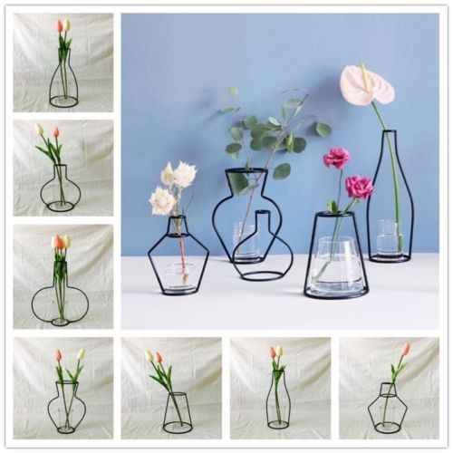 Skandynawska minimalistyczna abstrakcyjna linia wazonów czarna żelazny kwiat w wazonie wazon suszony kwiat